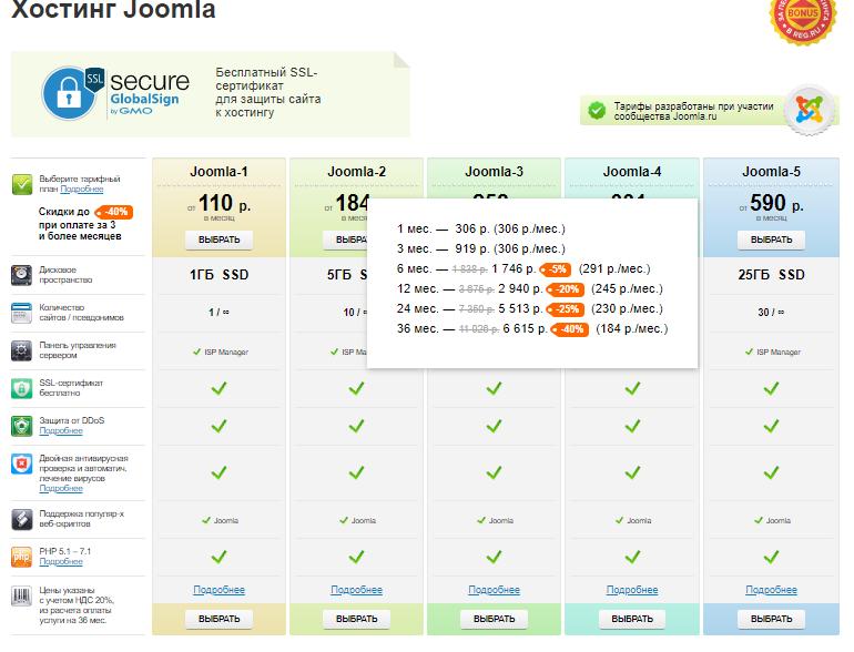хостинг Reg для joomla